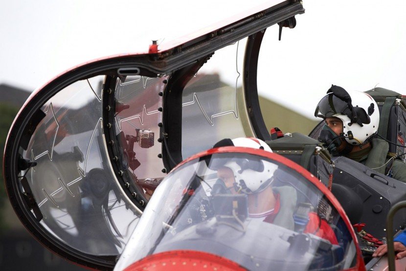Red Arrows meet Silver Arrow as Lewis flies with the RAF