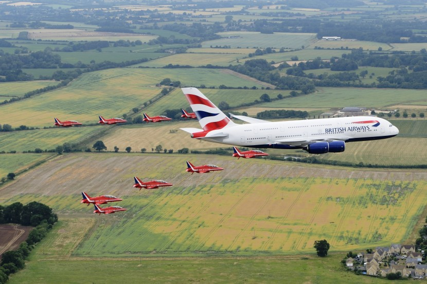 British Airways A380 and Red Arrows team up for fly past