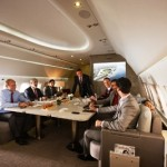 Business meeting configuration on Emirates Executive Airbus A319 private jet service