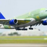 First Skymark Airlines A380 takes to the air at Airbus, Toulouse