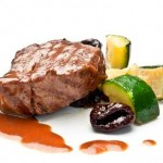 Veal sirloin with Cordoban sauce and salted squash with plums for Iberia Business Class passengers