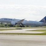 The first United Boeing 787-9- takes off from Everett Washington