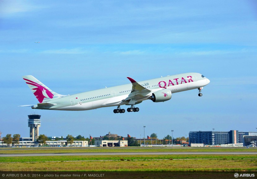First flight for the Qatar Airways A350 in full livery – delivery soon!