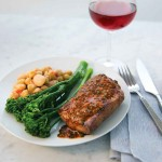 New United Airlines meal servide the BusinessFirst meal Flat Iron Steak A flat-iron steak with grilled broccolini, gigande beans and red chimichurri will be one of the entrees available in United BusinessFirst on the airline's Premium Service.
