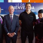 Air New Zealand's Stephen Jones with Richie McCaw and Cabin Crew