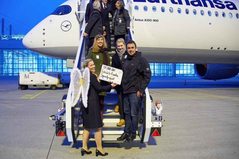 Lufthansa A350-900 lands at its home Munich Airport for the first time