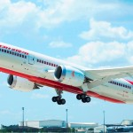 Air India 787 Dreamliner painted in India's livery taking off from Boeing South Carolina. The airplane is equipped with 18 business class seats and 238 economy class seats