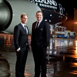 All Blacks rugby players Kieran Read and Andy Ellis with the Black Air New Zealand 777 300ER