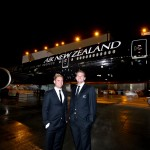 All Blacks rugby players Kieran Read and Andy Ellis with the Black Air New-Zealand Boeing 777