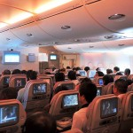 An Emirates A380 from the inside the Economy Class Cabin on the Airbus