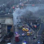 Augusta 109 Helicopter crash in London smoke still rises at Vauxhall crash site