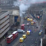 Helicopter crash in Vauxhall London ambulances and fire services at the scene as smoke covers crash site