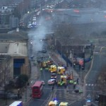 Helicopter crash in Vauxhall London fires and ambulance services at the scene