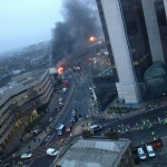 Helicopter crash in Vuaxhall London after possible crane hit fire and smoke cover the crash site