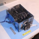 An NTSB photograph of the burned JAL Auxiliary Power Unit battery from the Boeing 787 at Boston's Logan International Airport.