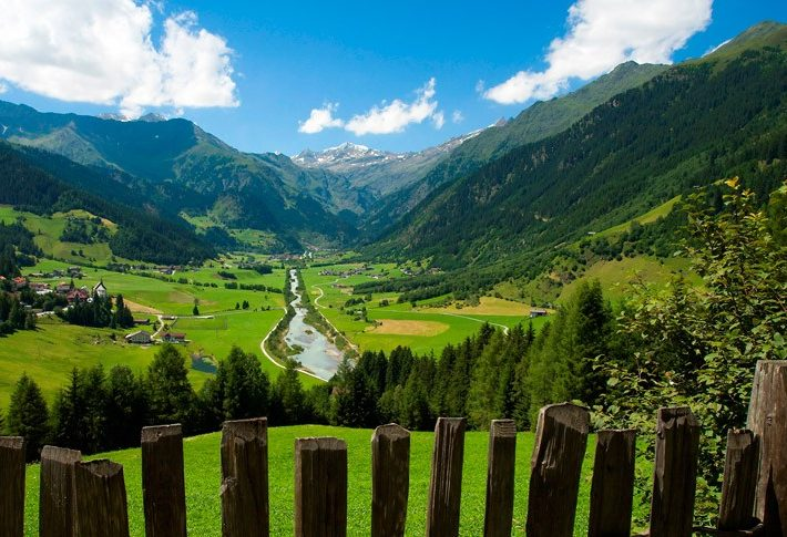 Looking down the valley from the luxury hotel and spa in the South Tyrol from the Italian Plunhof Hotel