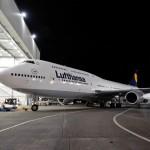 Lufthansa 747-8 Intercontinental at Boeing paint hangar